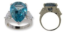 PEAR SHAPPED RING Assorted Sizes NEW BOXED comes in BLUE TOPAZ, YELLOW DIAMOND or DIAMOND Choose**