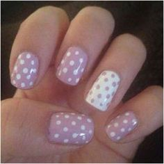 pale neutral pink and white polka dot nails