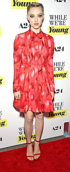 The actress debuted her latest film in a printed Valentino dress, a look she finished with matching red sandals and an intricately braided updo.