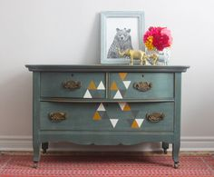 Green Blue Dresser with Painted Triangles