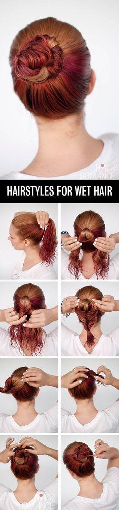 Get ready fast with 7 easy hairstyle tutorials for wet hair. ou Prepare-se rápido com 7 tutoriais penteado fáceis para cabelo molhado.