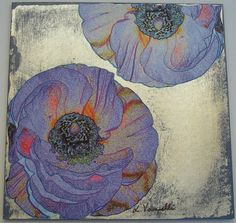 Decoupage Card with Silver Leaf and Poppies