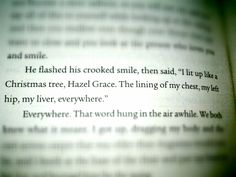 """I lit up like a Christmas tree, Hazel Grace."" -The Fault in Our Stars, John Green. *sobs*"