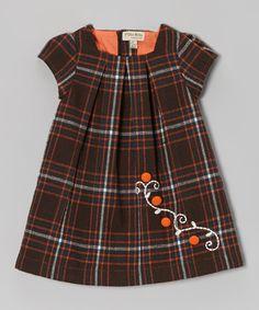 Orange & Brown Plaid Wool-Blend Dress - Infant, Toddler & Girls