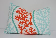 OUTDOOR Turquoise Coral Blue Orange Pillow Cushion Covers Coral Porch Pillows Lumbar 12x18 12x20