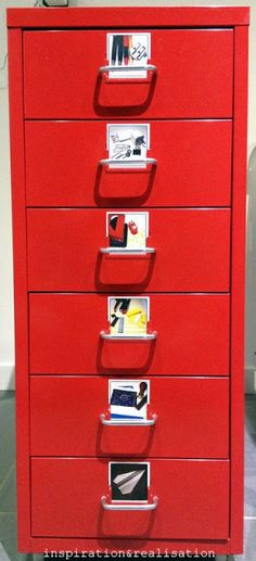 organization: StickyGram magnets - instagram office supplies & put photos on each drawer to show what's inside