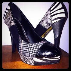 """CYBER MONDAY SALE Bakers patchwork stiletto heels These patchwork heel are great for adding a statement piece to an otherwise simple outfit. Soft pointed toe, mid heel pump with zebra print, snake pattern, black leather, and plaid patterns. 3"""" heel Bakers Shoes Heels"""
