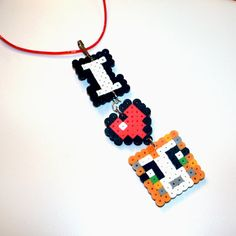 Stampylongnose Inspired Necklace Fun for a by HenrysMarketplace Minecraft Stampy, Minecraft Perler, Cool Minecraft, Minecraft Party, Pony Bead Patterns, Beading Patterns, Perler Bead Art, 11th Birthday, Pearler Beads