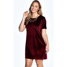 Boohoo Plus Julia Velvet Shift Dress (1,635 INR) ❤ liked on Polyvore featuring dresses, red dress, red velvet dress, velvet shift dress, red zipper dress and velvet dress