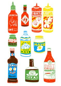 food illustrations Aleesha Nandhra Print Club London Know Your Condiments Screen Print Art And Illustration, Illustration Inspiration, Food Illustrations, Graphic Design Illustration, London Illustration, Pinterest Instagram, Food Instagram, Instagram Accounts, Food Painting