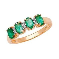 Diamond-amp-4-Oval-Emerald-9ct-Ov-Emd-0-80-D-0-01ct-Ring