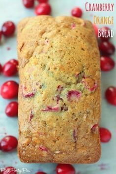 The best cranberry orange bread recipe! Use dried or regular cranberries and add some pecans for an easy and impressive bread that's so moist! You can even pretend that it's healthy with all the fruit in it, yum! Delicious Desserts, Dessert Recipes, Yummy Food, Cranberry Orange Bread, Fresh Cranberry Recipes, Citrus Recipes, Cranberry Sauce, Breakfast Bread Recipes, Homemade Breakfast