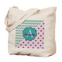 Teal Purple Dot Chevron Monogram Pesonalized Tote on CafePress.com