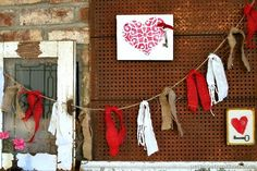 Decorate Your Mantel With Burlap Garlands and Red Hearts via petticoatjunktion - Lace Heart Stencil from Royal Design Studio