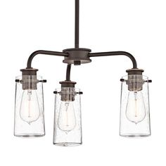"""There's so much to love about the reclaimed style of this 3 light convertible semi flush or chandelier from the Braelyn™ collection. The vintage industrial design is punctuated with Clear Seedy Glass shades, reminiscent of glass jars that were a staple of 19th century American life.   Glass Description: Clear Seedy Downrod Length:36"""" Number of Bulbs: 3 Finish: Olde Bronze"""