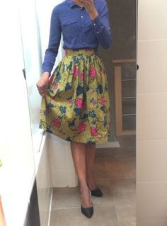 Tuto jupe taille haute froncée
