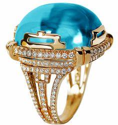 Emmy DE * Rock 'n Roll Large Blue Topaz Cabochon Ring