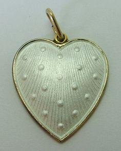 1960's Scandinavian Silver Gilt & Guilloche Enamel Heart Charm with Lord's Prayer