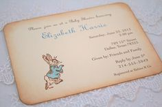Peter Rabbit Invitation Baby Shower by SeasonalDelightsBaby, $2.60