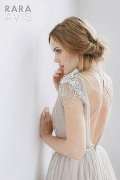 Hochzeitskleid/Brautkleid IVANEL, Hochzeits Kleid, Strand Hochzeitskleid, grau mit Pulver Rosa, Elfenbein