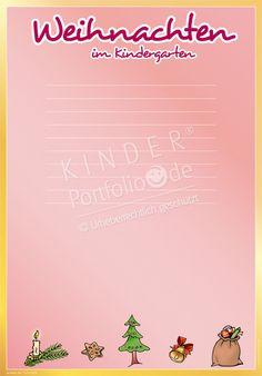 """Kindergarten Portfolio Vorlagen """"Weihnachten im Kindergarten"""""""