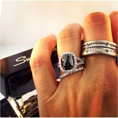 Her Halo ring with 2.5 carat BLACK Diamond!!!!! His BLACK and WHITE Diamond Band!!!   For Power Couples Only!!!!