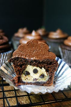 Salted Dark Chocolate Chip Cupcakes Stuffed With Creamy Cookie Dough!