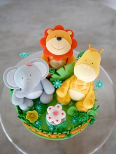 giraff, animalthem cake, 1st birthdays, jungl anim, cute animal cakes, jungl cake, anim cake, birthday option, jungle cake
