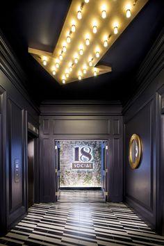Hotel Indigo Los Angeles Downtown in Los Angeles Elevator Lobby Design, Hotel Lobby Design, Home Lighting Design, Ceiling Design, Los Angeles Downtown, Hba Design, Corridor Design, Entrance Design, Hotel Corridor