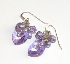 Radiant Orchid Swarovski Crystal Dangle Earrings by lindab142, $25.00
