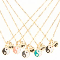 5 Pack Yin and Yang BFF Necklace Set