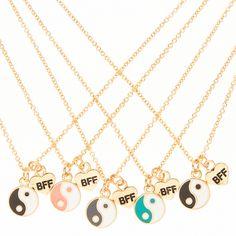5 pack yin and yang bff necklace set Bracelets Bff, Best Friend Bracelets, Bff Necklaces, Best Friend Jewelry, Bff Gifts, Best Friend Gifts, Gifts For Friends, Kids Jewelry, Cute Jewelry