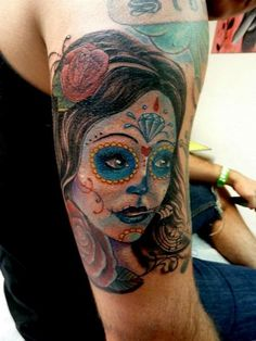 Day of the dead girl with music notes coming out of her mouth & roses. Description from mullytattoo.com. I searched for this on bing.com/images