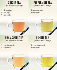 Menstrual Cramp Remedies Teas for menstrual cramps - GINGER TEA: Ginger contains anti-inflammatory and antispasmodic properties can ease the symptoms of menstrual cramps. Things you need: teaspoon grated ginger or ginger powder 1 green tea bag Honey Cramp Remedies, Foot Remedies, Health Remedies, Period Remedies, Natural Remedies For Cramps, Tea For Menstrual Cramps, Remedies For Menstrual Cramps, Menstrual Cycle, Period Cramp Relief