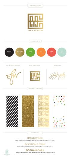 Designer, Emily McCarthy's, website branding style guide. LOVE the colors and bold!