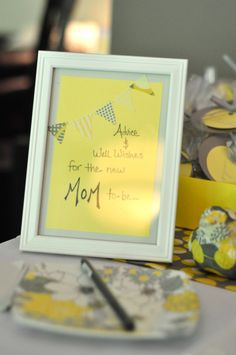 Adorable baby shower sign!  Gotta love the grey and yellow :)