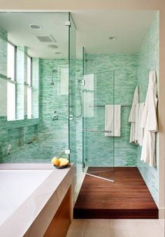 Green tile is trending in interior design. Here are 35 reasons why we can't get enough green tile. For more interior design trends and inspiration, visit domino.