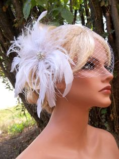White bridal hair fascinator and bandeau french by kathyjohnson3, $68.00