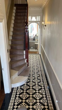 Narrow Hallway Decorating, Victorian Hallway, Tiled Hallway, Unique Tile, Victorian Interiors, Geometric Tiles, Tile Design, Home Improvement Projects, Home Renovation