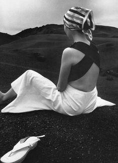 Akiko on the Black Lava of Hawaii, 1965 by Hiro