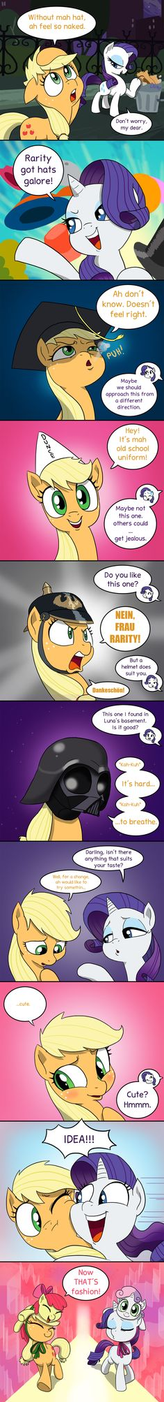 #993033 - adorabloom, apple bloom, applejack, applejack's damaged hat, applejack's hat's death, artist:doublewbrothers, comic, cute, darth vader, dialogue, diasweetes, dunce cap, german, hat, jackabetes, made in manehattan, mask, mortar board, pickelhaube, pony hat, raribetes, rarity, safe, season 5 comic marathon, speech bubble, spoiler:s05e16, star wars, sweetie belle, sweetiehat - Derpibooru - My Little Pony: Friendship is Magic Imageboard
