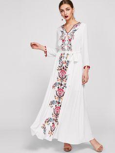 70befb0ffd Embroidered Tape Trim Symmetric Flower Print Dress -SheIn(Sheinside) Casual  Day Dresses,