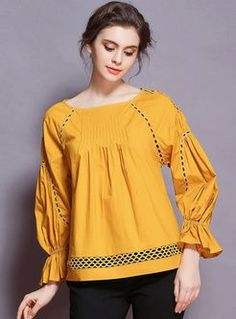 O-neck Lantern Sleeve Loose Blouse Stylish Dress Designs, Stylish Dresses For Girls, Simple Dresses, Casual Dresses, Short Dresses, Fashion Dresses, Girls Dresses, Simple Pakistani Dresses, Pakistani Fashion Casual