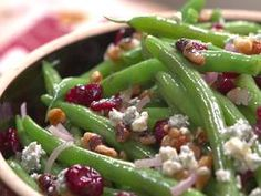 Green Beans with Walnuts, Cranberries and Blue Cheese