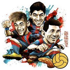 """CARICATURAS DE FAMOSOS: """"Leo Messi, Luis Suarez y Neymar Jr."""" por Gonza Ro..."""