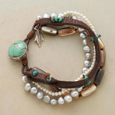ABALONE STRAND BRACELET ~ Love the turquoise beads sewn detail on the leather; especially, the ones on end to create a closure loop.