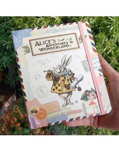 """Cuaderno de tapa dura """"Alicia en el País de las Maravillas"""" con goma elástica"""