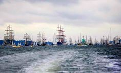 "Tall ships take part in the so-called ""Windjammerparade"" tall ship parade at the Kieler Woche sailing event on June 28, 2008 at the port of Kiel, northern Germany. (ROLAND MAGUNÏA/AFP/Getty Images)."