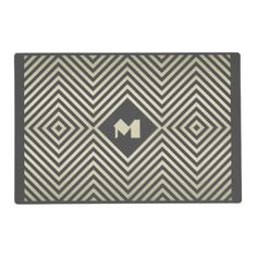 #stripes - #Charcoal and Beige Diamond Monogram Placemat