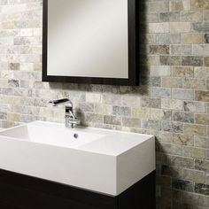 Anatolian Grey Honed & Filled Travertine Brick Mosaic 48x98mm Buy Now At Horncastle Tiles For Lowest UK Prices!